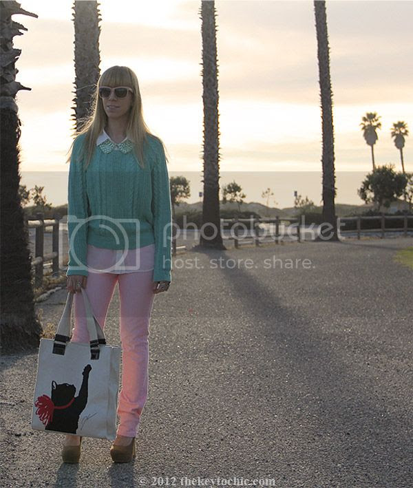 Jason Wu for Target cat tote bag, Uniqlo pink jeans, H&M pearl collar, mint sweater, pastel spring 2012 trend, Los Angeles street fashion