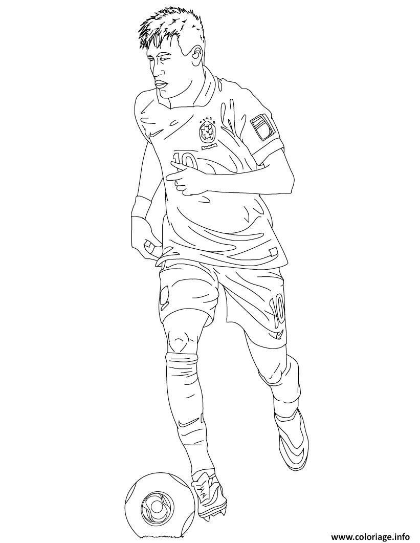 Coloriage Neymar Joueur De Foot Barcelone Dessin  Imprimer