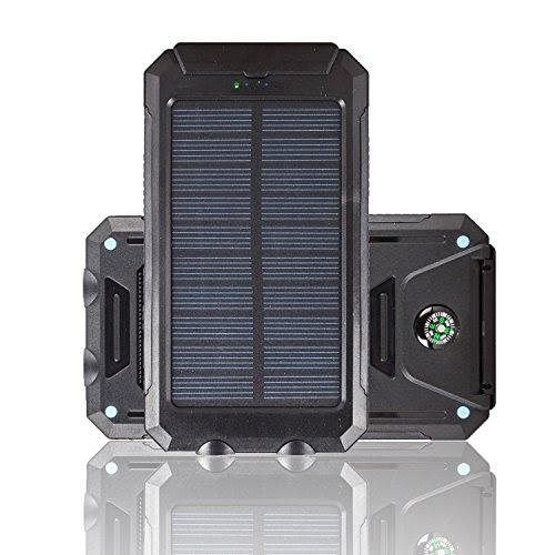 Trackbee 10000mAh大容量ソーラーパネル モバイルバッテリー 羅針盤搭載 防水設計 防水・防塵・耐衝撃 アウトドア 災害、防災向け LEDライト搭載 (オレンジ)