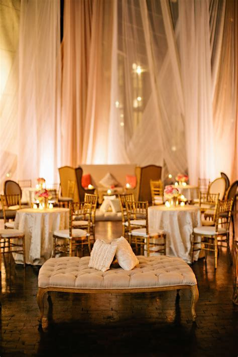Gold Wedding Lounge Area with Elegant Draping   Elizabeth