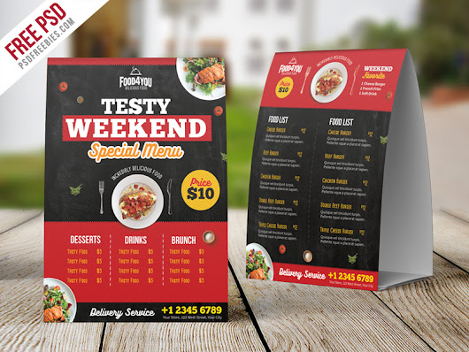 Restaurant Table Tent Menu PSD Template | PSDFreebies.com
