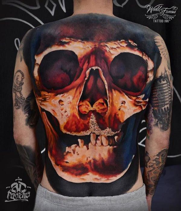 Colored Skull Tattoo On Man Full Back