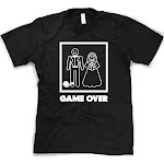 Mens Game Over T Shirt Funny Wedding T Shirts Humor Bachelor Party Novelty Tees (Black)