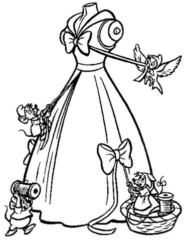 Dibujo De Los Ratones Ayudan A Cenicienta A Hacer Su Vestido Para