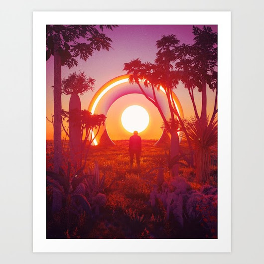 FLAT EARTH SUNSET (everyday 04.21.18) Art Print by beeple | Society6