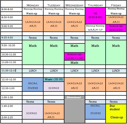 Third Grade Daily Schedule | Daily Planner