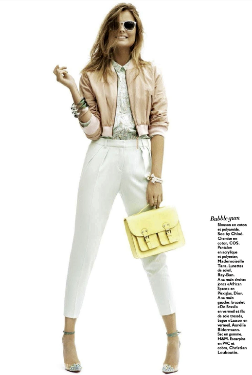 GRAZIA FRANCE SEE BY CHLOE TOP RAY BAN SUNGLASSES LOUBOUTIN HEELS BUTTON UP COLLAR CROP JACKET 2