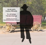 Cowboy Silhouette Western Yard Art Woodworking Pattern - fee plans from WoodworkersWorkshop® Online Store - cowboys,ranchers,cowhands,cattleman,yard art,painting wood crafts,scrollsawing patterns,drawings,plywood,plywoodworking plans,woodworkers projects,workshop blueprints