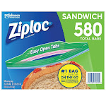Ziploc Seal Top Bag, Sandwich, 145-count, 4-pack