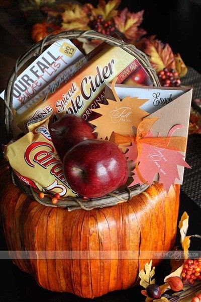 Cute Fall gift basket with cute card to give to your significant other.