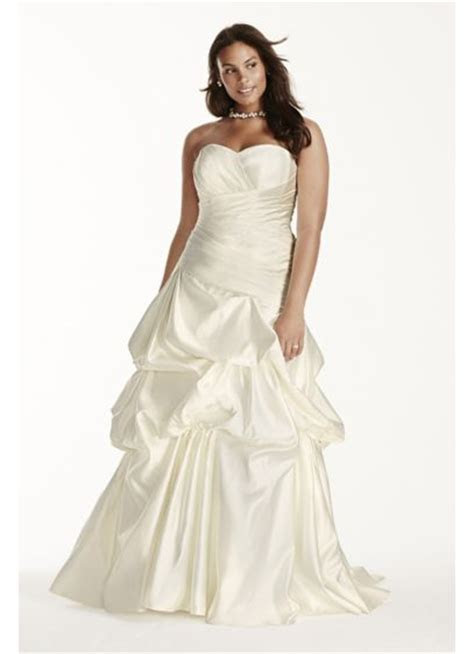 Satin Ruched Drop Waist Plus Size Wedding Dress   David's
