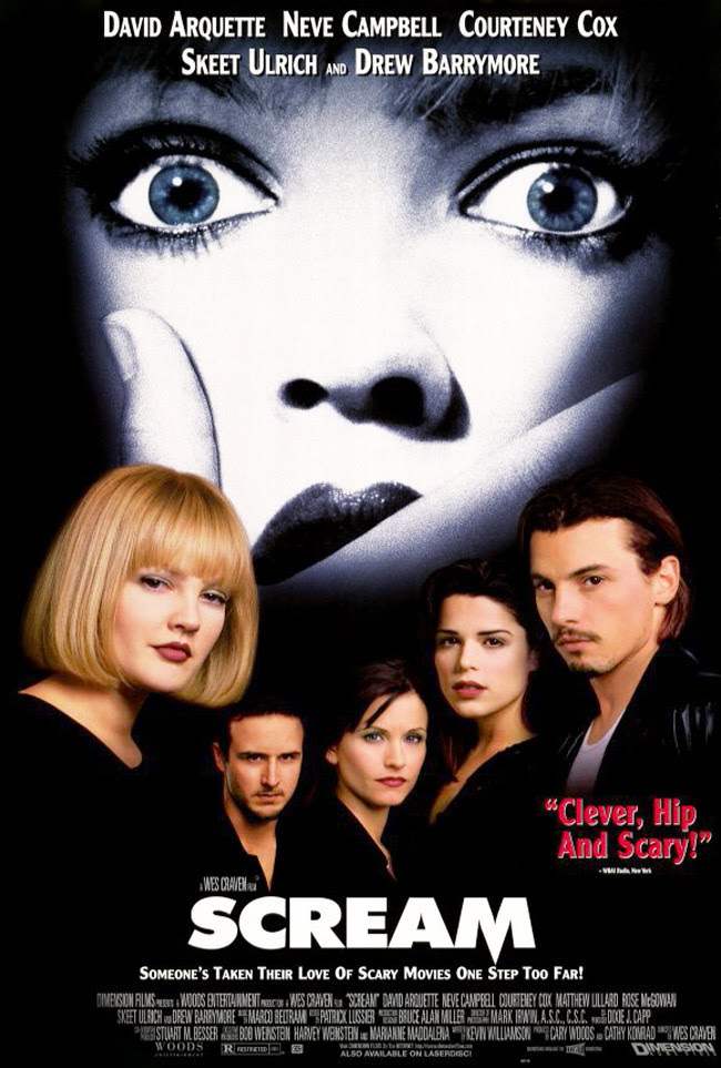 Scream the movie, Drew Barrymore, Neve Campbell, Skeet Ulrich, Halloween movies