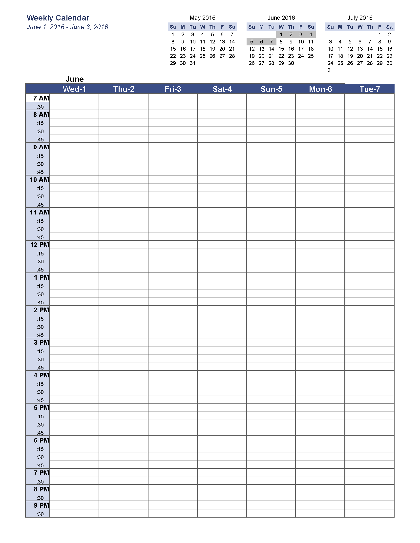 weekly calendar template jun 2016 w1