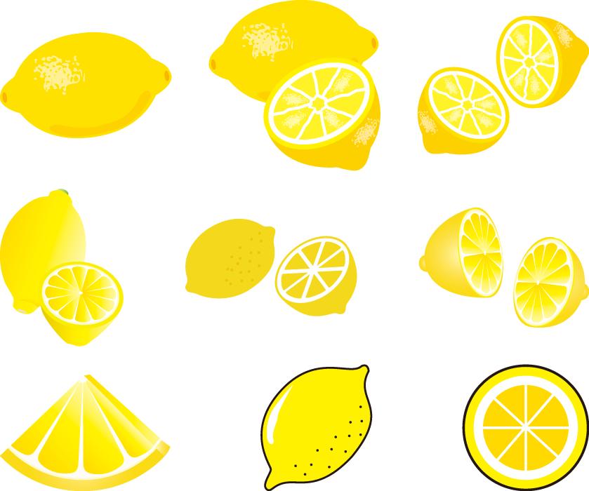 フリーイラスト 9種類のレモンのセットでアハ体験 Gahag 著作権