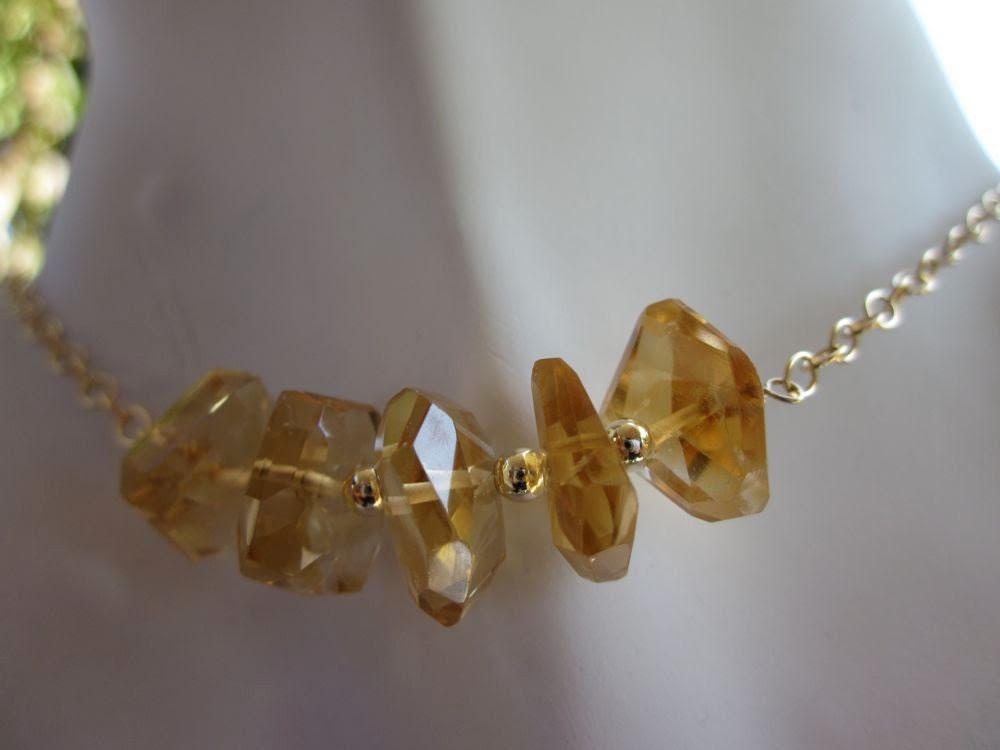 Orange Citrine Nuggets,14Kt Gold Filled-Autumn Sunrise Necklace