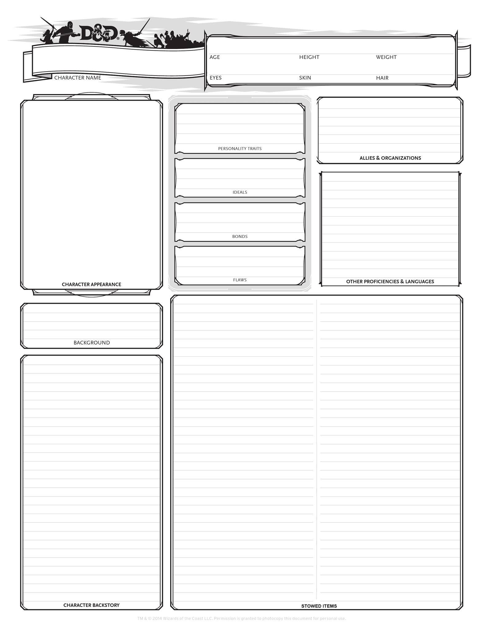 D&D 5e Alternate Character Sheets  