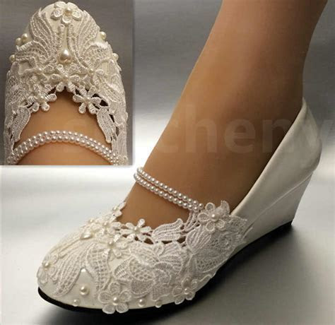 White light ivory lace Wedding shoes flat low high heel
