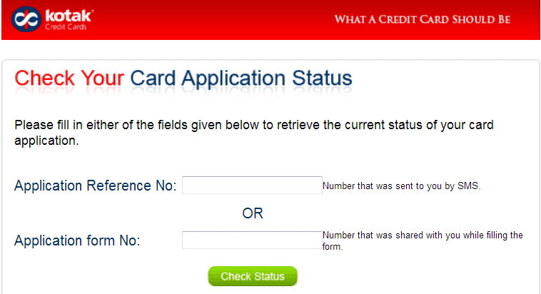 kotak credit card status checking form