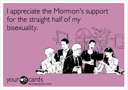someecards.com - I appreciate the Mormon's support for the straight half of my bisexuality.