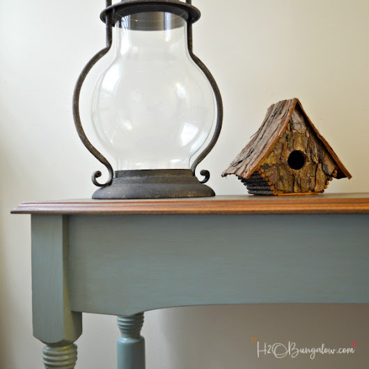Blue Painted Console Table Makeover - H20Bungalow