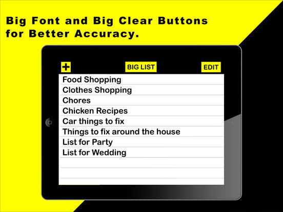 Big Keys Low Vision To Do List Note Taking App for Ipad