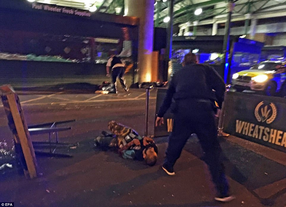 Khuram Butt lies dying in Borough Market shortly after he was shot by armed police following another incident involving a van on London Bridge