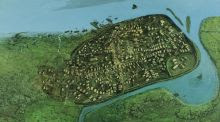 1014: Dublin 1,000 years ago, based on research by Dr Patrick Wallace. Illustration: Simon Dick/National Museum of Ireland