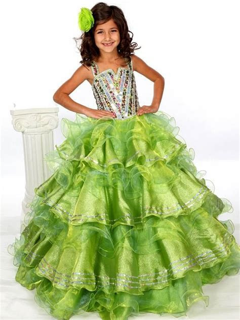 Charming 2015 Girls Pageant Dresses Spaghetti Strap Tiered