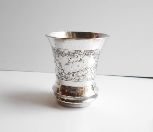 Old French ART DECO RABBITS Engraved silver plated Baby Cup