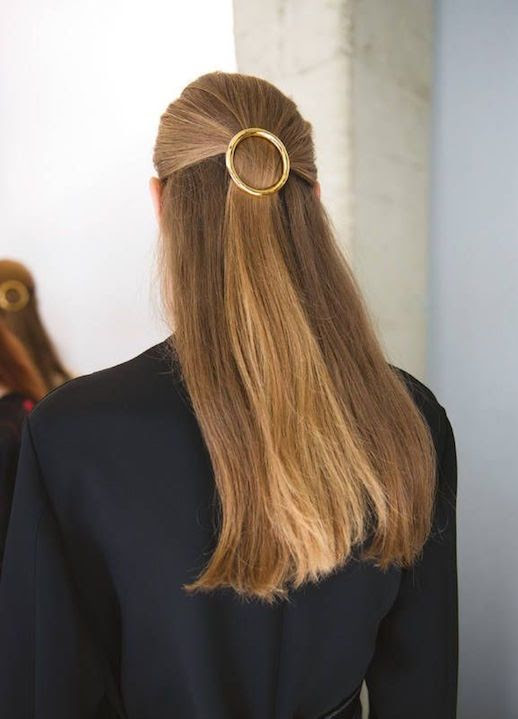 Le Fashion Blog 15 Ways To Wear Round Circle Hair Clip Pin Accessory Hairstyle Half Up Do Long Straight Hair Jacket Coat SS15 Via Celine