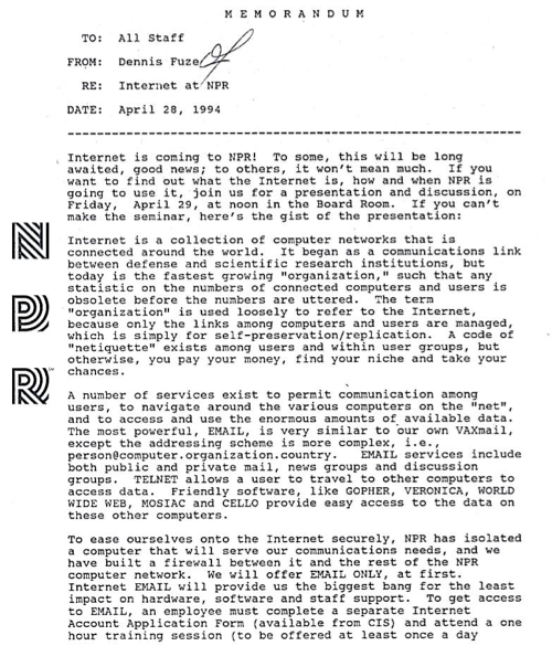 "A memo from 20 years ago, today.  Key quote: ""The..."