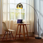 Versanora Arquer Arc Floor Lamp in Gold and Black - VN-L00012
