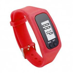 (Red) - Perman Durable Digital LCD Pedometer Run Step Walking Distance Calorie Counter Watch Bracelet