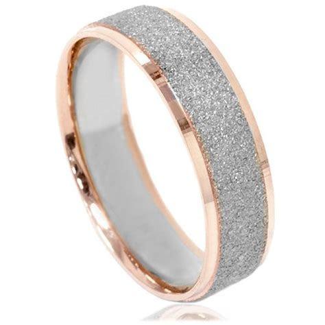 Mens Two Tone Wedding Ring 14K White & Rose Gold 6MM