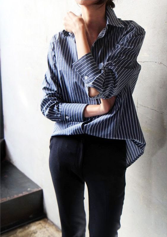 Le Fashion Blog Masculine Inspired Look Striped Button Down Shirt Black Pants Via Death By Elocution