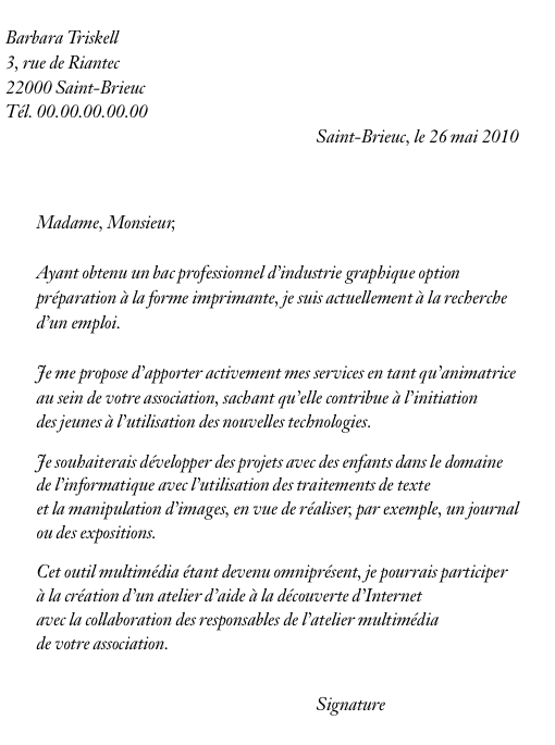application letter sample  modele de lettre de motivation