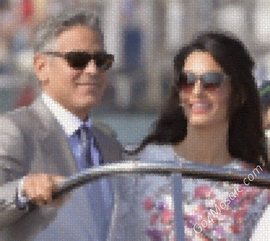 George Clooney and Amal Alamuddin mosaic from Wooden Jigsaw - Go4mosaic Blog
