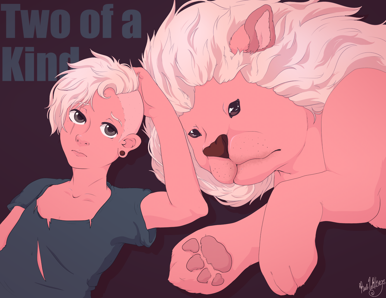"""Two of a Kind. "" Lars is great and Lion is great and theyre just perfect and I'm so excited for more/// I haven't drawn with this much pink in forever;; For sale on redbubble!"