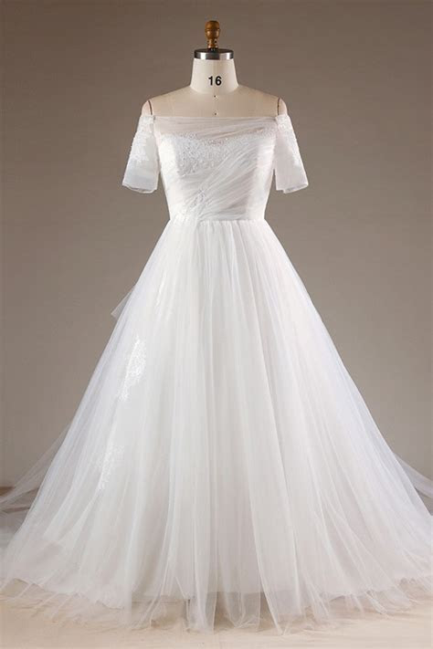 Simple Plus Size Off Shoulder Tulle Wedding Dress With