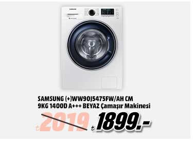 SAMSUNG (+)WW90J5475FW/AH CM 9Kg 1400D A+++ Çamaşır Makinesi Beyaz 1899TL