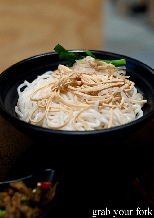 Rice noodles with shredded bean curd at Two Sticks Yunnan China, Sydney