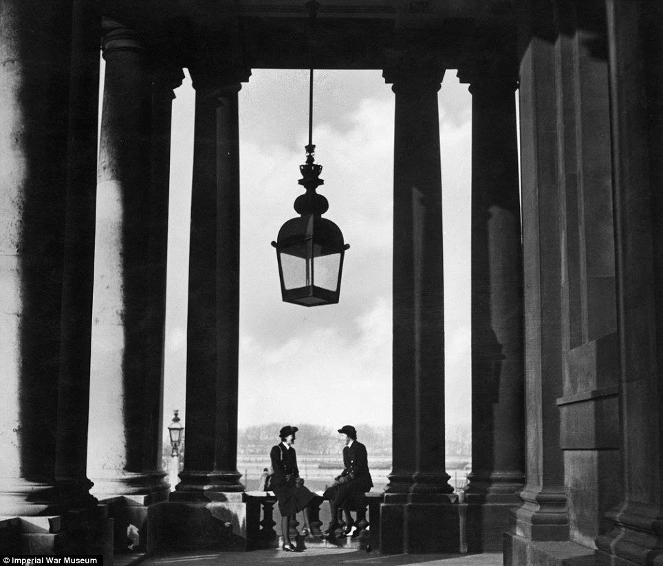 Photogenic: Although also cataloguing damage to buildings in the war, Beaton also captured wonderful images like this one of Wren officers at the Royal Naval College in Greenwich in 1941