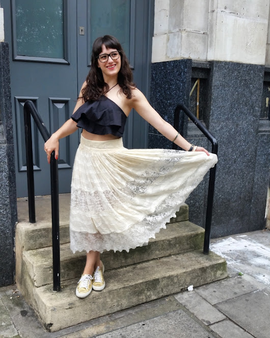 What I wore: lace & trainers