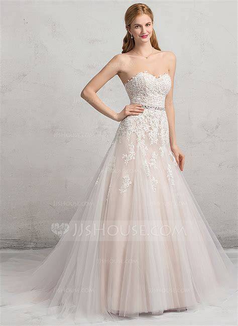 Ball Gown Sweetheart Chapel Train Tulle Lace Wedding Dress