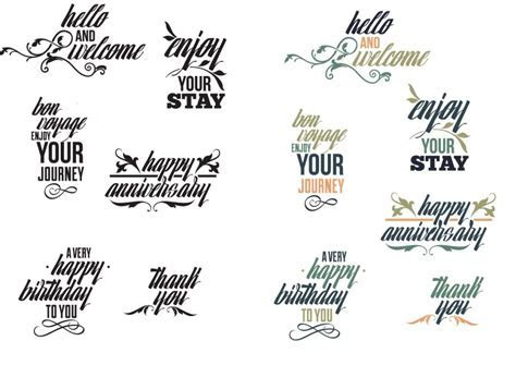 Common phrases typography set vector   Free download