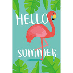 Juvale Garden Flag – Hello Summer Flag Banner, Summer Holiday Seasonal Outdoor Lawn Decoration, Flamingo Illustration, Double Sided Printed, 12.3 x