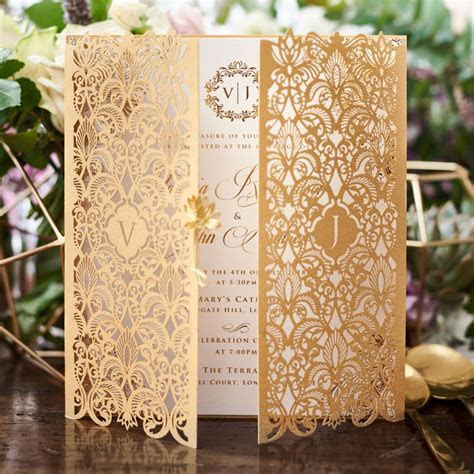 Extravagance in Gold and Rich Marsala Laser Cut Invitation