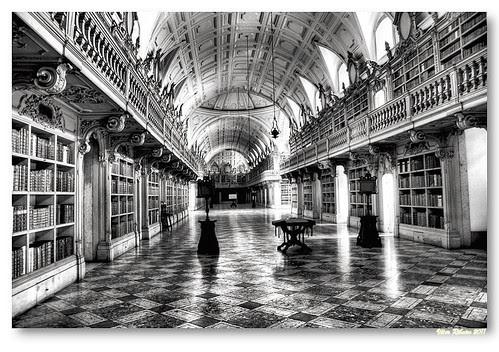 Biblioteca do Convento de Mafra (b/w) by VRfoto
