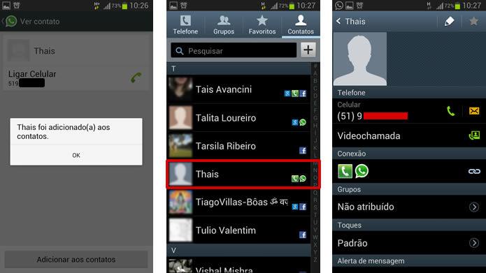 O novo contato será adicionado diretamente na agenda de seu telefone (Foto: Reprodução/Daniel Ribeiro)