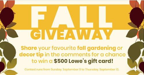Lowe's Fall Giveaway: Win a $500 gift card